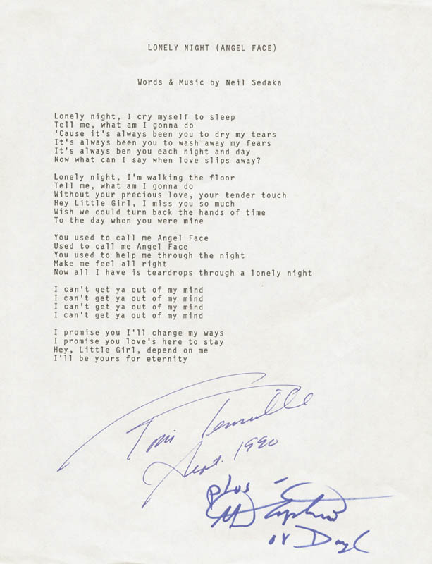 Image 1 for Captain & Tennille - Typed Lyric(s) Signed 09/1990 co-signed by: Captain & Tennille (Daryl Dragon), Captain & Tennille (Toni Tennille) - HFSID 201072