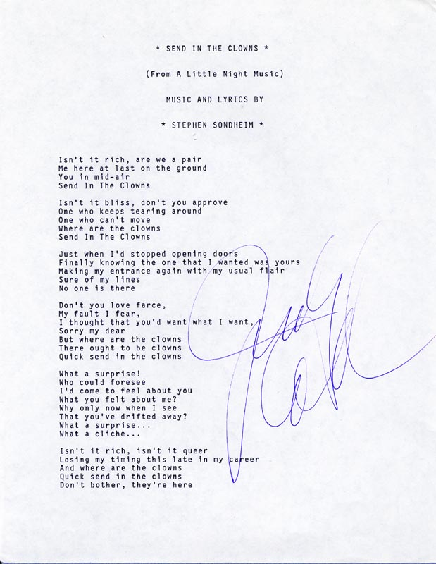 Image 1 for Judy Collins - Typed Lyric(s) Signed - HFSID 201087