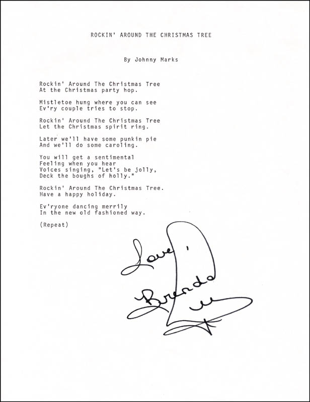 Image 1 for Brenda Lee - Typed Lyric(s) Signed - HFSID 201093