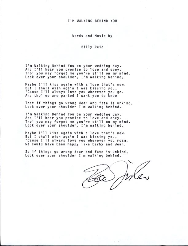 Image 1 for Eddie Fisher - Typed Lyric(s) Signed - HFSID 201120