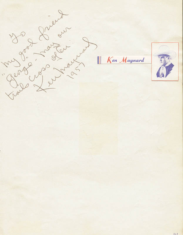 Image 1 for Ken Maynard - Autograph Note Signed 1957 co-signed by: Tommy Sands - HFSID 20113