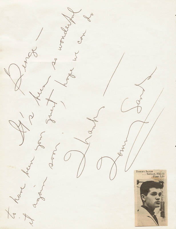 Image 3 for Ken Maynard - Autograph Note Signed 1957 co-signed by: Tommy Sands - HFSID 20113