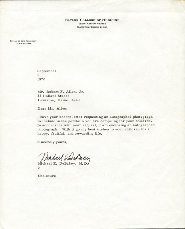 Image 1 for Dr. Michael E. Debakey - Typed Letter Signed 09/08/1972 - HFSID 201160