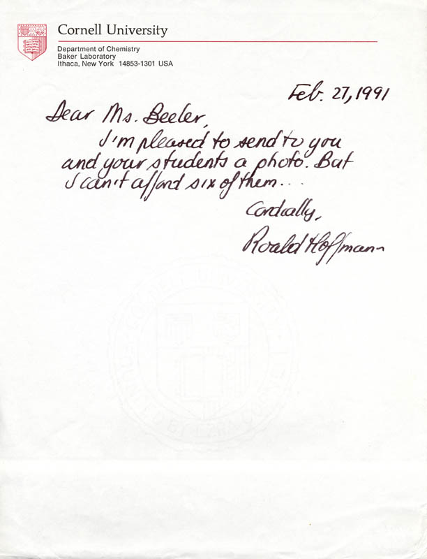 Image 1 for Roald Hoffmann - Autograph Letter Signed 02/27/1991 - HFSID 201396