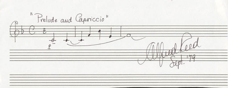 Image 1 for Alfred Reed - Autograph Musical Quotation Signed 9/1979 - HFSID 201506
