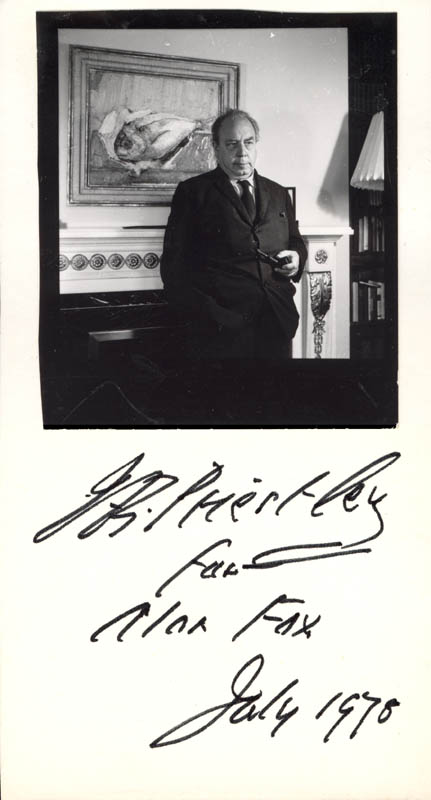 Image 1 for J.B. (John) Priestley - Inscribed Photograph Mount Signed 7/1978 - HFSID 201596