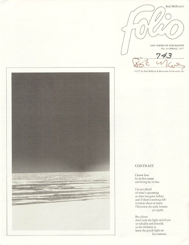 Image 1 for Rod Mckuen - Pamphlet Signed - HFSID 201626