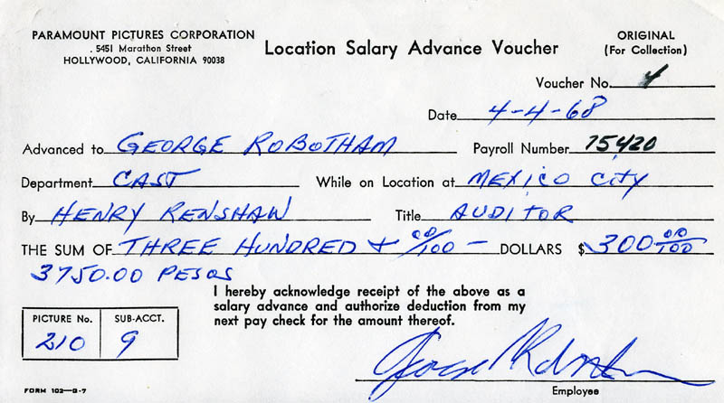 Image 1 for George Robotham - Receipt Signed 04/14/1968 - HFSID 201886