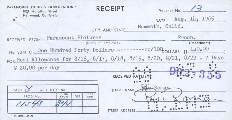 Image 1 for Ric Roman - Receipt Signed 08/14/1965 - HFSID 201887