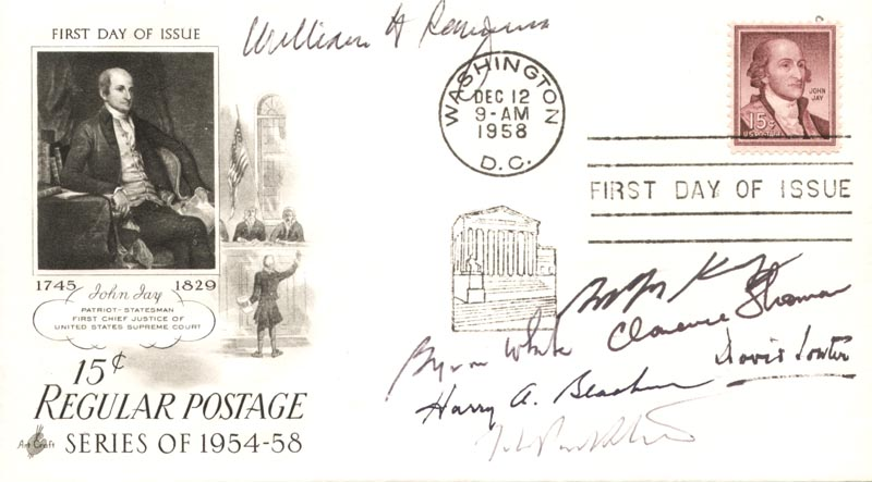 Image 1 for The William H. Rehnquist Court - First Day Cover Signed 1958 with co-signers - HFSID 202275