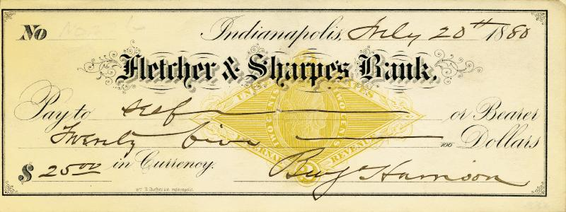 Image 1 for President Benjamin Harrison - Autographed Signed Check 07/20/1880 - HFSID 202300