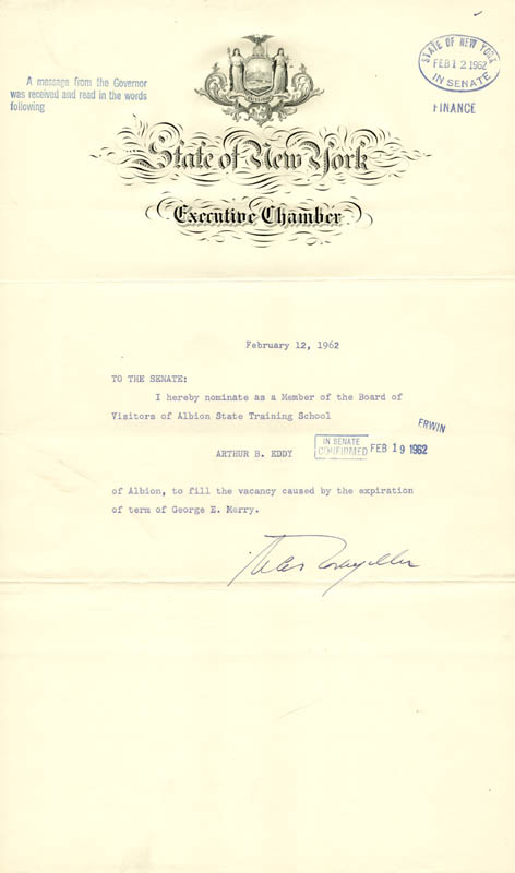 Image 1 for Vice President Nelson A. Rockefeller - Document Signed 02/12/1962 - HFSID 202311