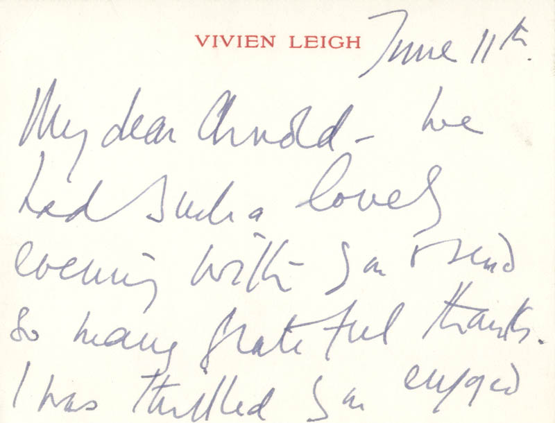 Image 1 for Vivien Leigh - Autograph Letter Signed 6/11 - HFSID 202541
