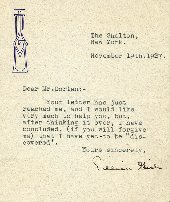 Image 1 for Lillian Gish - Typed Letter Signed 11/10/1927 - HFSID 202542
