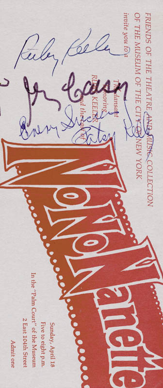 Image 1 for No No Nanette Play Cast - Ticket Signed co-signed by: Patsy Kelly, Ruby Keeler, Irving Caesar - HFSID 202543