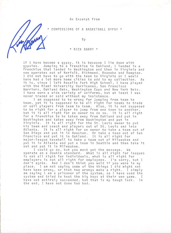 Image 1 for Rick Barry - Typescript Signed - HFSID 202597