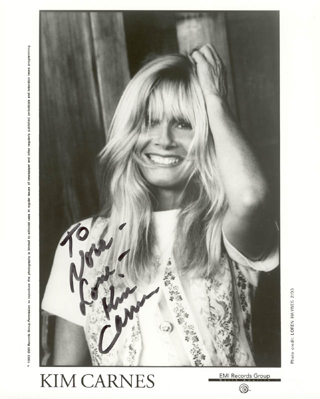 Image 1 for Kim Carnes - Autographed Inscribed Photograph - HFSID 202703