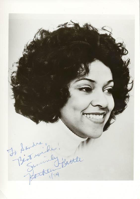 Image 1 for Kathleen Battle - Autographed Inscribed Photograph 01/1979 - HFSID 203250