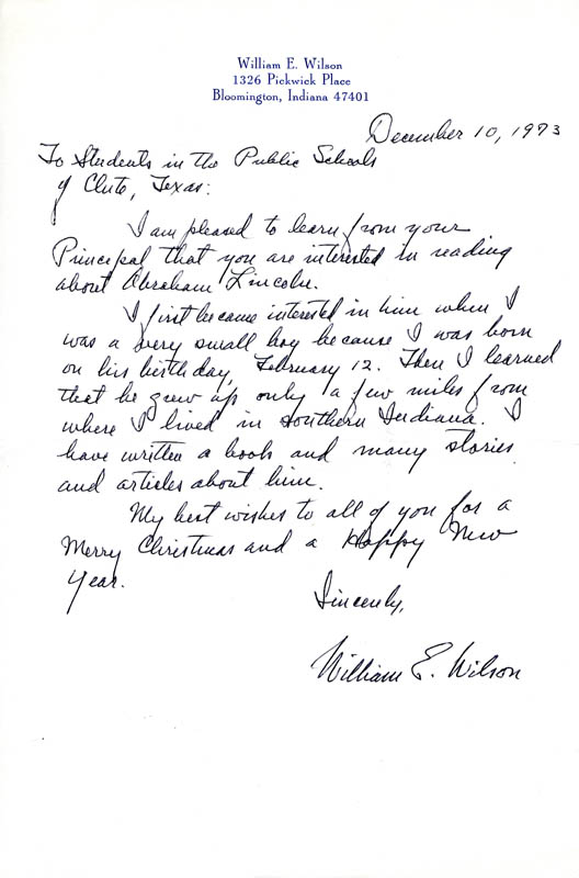 Image 1 for William E. Wilson - Autograph Letter Signed 12/10/1973 - HFSID 203260