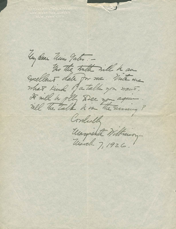 Image 1 for Marguerite Wilkinson - Autograph Letter Signed 03/07/1926 - HFSID 203310