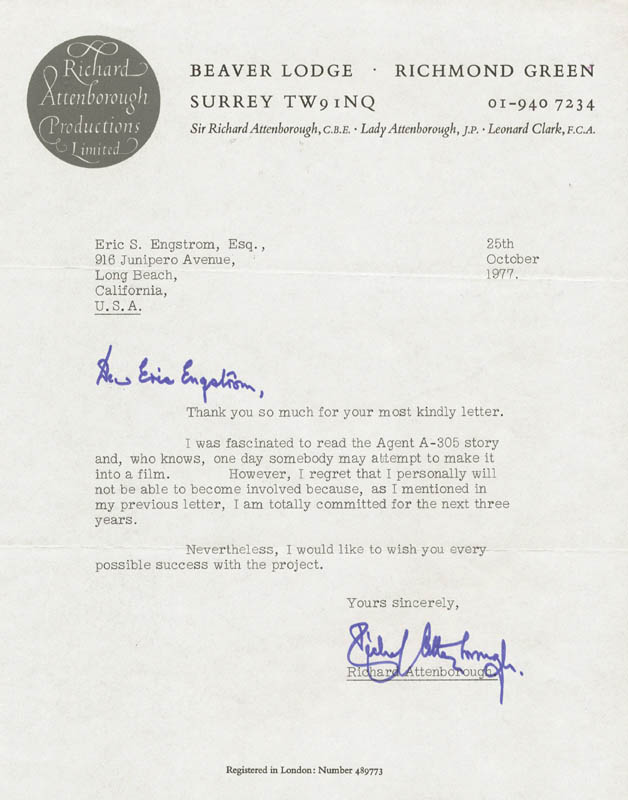 Image 1 for Sir Richard Attenborough - Typed Letter Signed 10/25/1977 - HFSID 20346