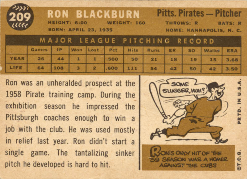 Image 3 for Ron Blackburn - Trading/Sports Card Signed - HFSID 20424