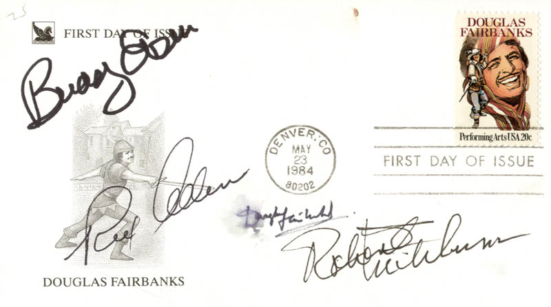 Image 1 for Robert Mitchum - First Day Cover Signed co-signed by: Buddy Ebsen, Douglas Fairbanks Jr., Rex Allen - HFSID 205039