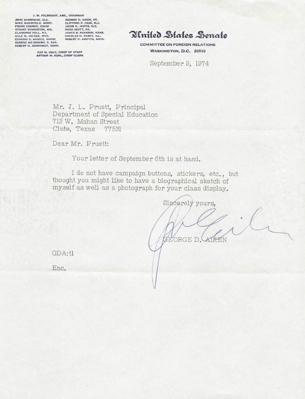 Image 1 for George D. Aiken - Typed Letter Signed 09/09/1974 - HFSID 205137