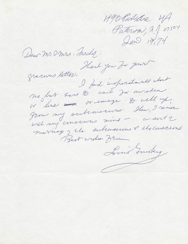 Image 1 for Louis Ginsberg - Autograph Letter Signed 01/19/1974 - HFSID 206116