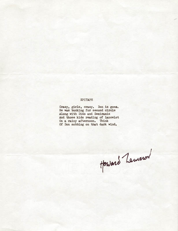 Image 1 for Howard Nemerov - Typescript Signed - HFSID 206169