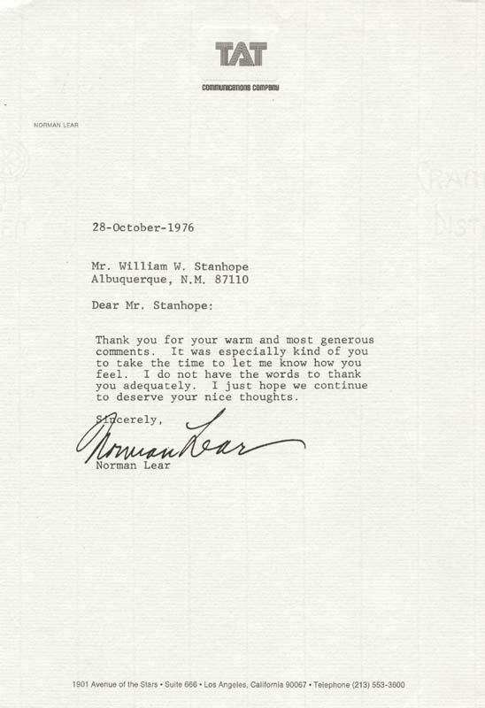 Image 1 for Norman Lear - Typed Letter Signed 10/28/1976 - HFSID 206640