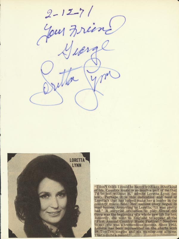 Image 1 for Loretta Lynn - Inscribed Signature 02/12/1971 - HFSID 207167