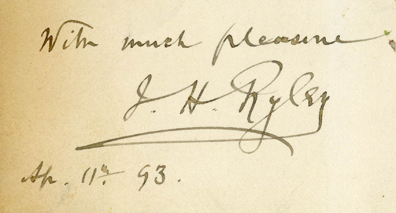 Image 1 for John Handford Ryley - Autograph Sentiment Signed 04/11/1893 - HFSID 207189