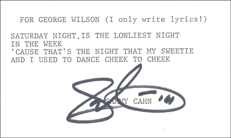 Image 1 for Sammy Cahn - Inscribed Typed Lyric (s) Signed - HFSID 207196