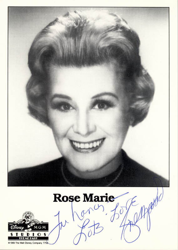 Image 1 for Rose Marie - Autographed Inscribed Photograph - HFSID 208315