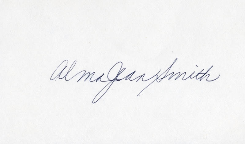 Image 1 for Alma Jean Smith - Autograph - HFSID 208520