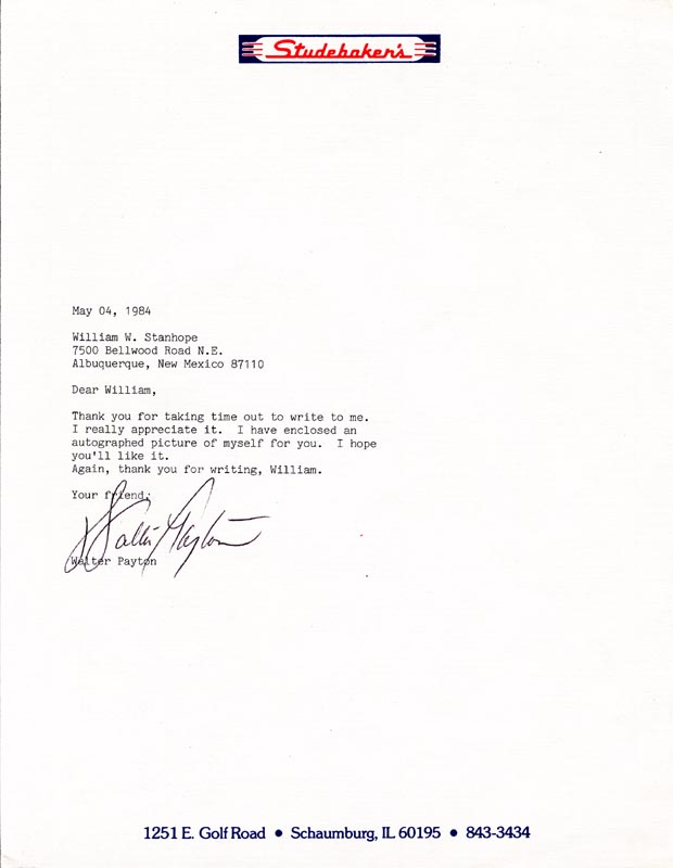 Image 1 for Walter 'Sweetness' Payton - Typed Letter Signed 05/04/1984 - HFSID 209079