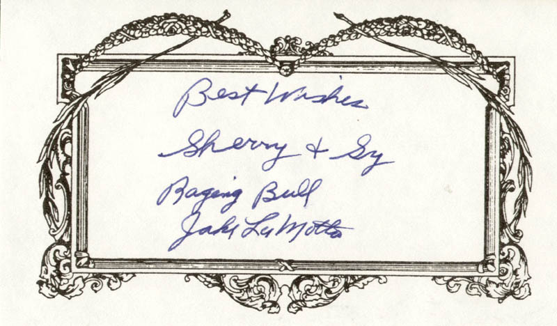 Image 1 for Jake 'The Raging Bull' La Motta - Printed Card Signed In Ink - HFSID 209117