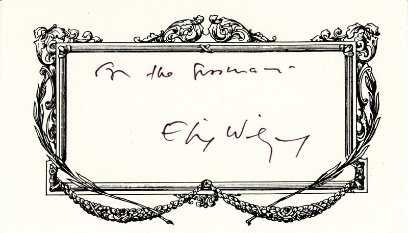 Image 1 for Elie Wiesel - Inscribed Printed Card Signed In Ink - HFSID 209259