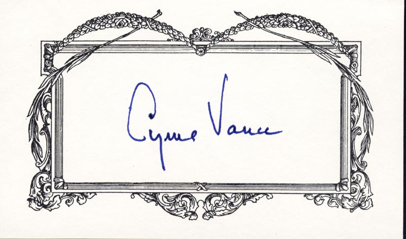 Image 1 for Cyrus Vance - Printed Card Signed In Ink - HFSID 209272
