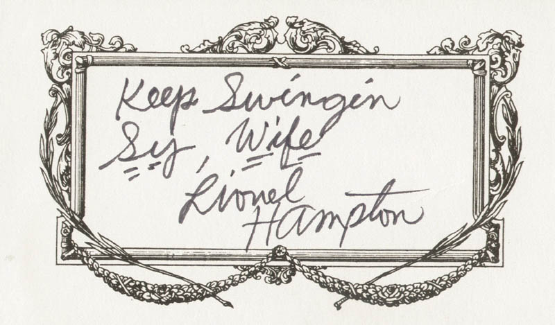 Image 1 for Lionel Hampton - Autograph Note Signed - HFSID 209383