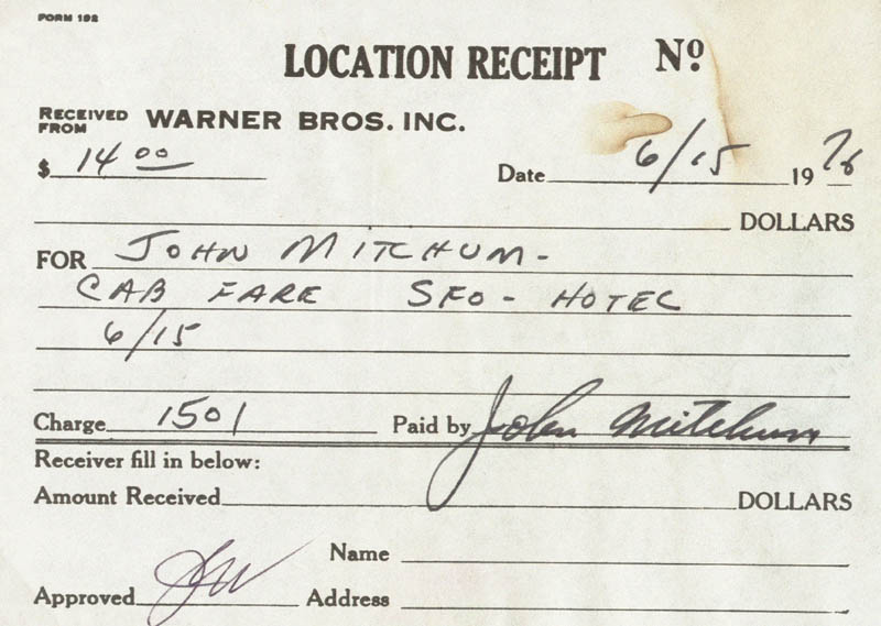 Image 1 for John Mitchum - Receipt Signed 06/15/1976 - HFSID 209406