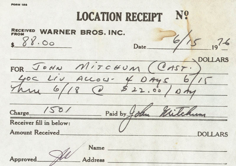 Image 1 for John Mitchum - Receipt Signed 06/15/1976 - HFSID 209407