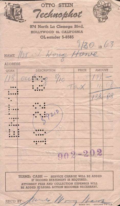 Image 1 for James Wong Howe - Receipt Signed 09/30/1963 - HFSID 209427