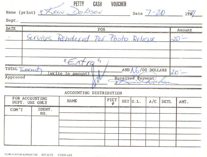 Image 1 for Kevin Dobson - Document Double Signed 07/20/1971 - HFSID 209438