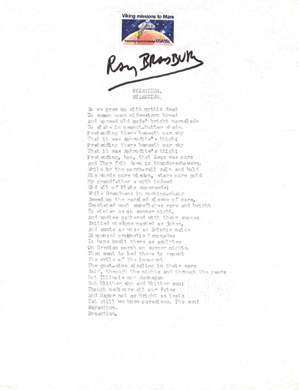 Image 1 for Ray Bradbury - Poem Signed - HFSID 209510