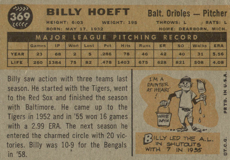 Image 3 for Billy Hoeft - Trading/Sports Card Signed - HFSID 21059