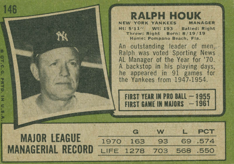 Image 3 for Ralph Houk - Trading/Sports Card Signed - HFSID 21078