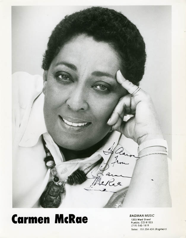 Image 1 for Carmen Mcrae - Inscribed Printed Photograph Signed In Ink - HFSID 211049