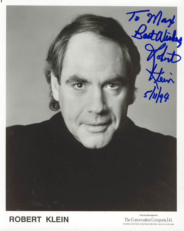 Image 1 for Robert Klein - Autographed Inscribed Photograph 05/11/1994 - HFSID 211123